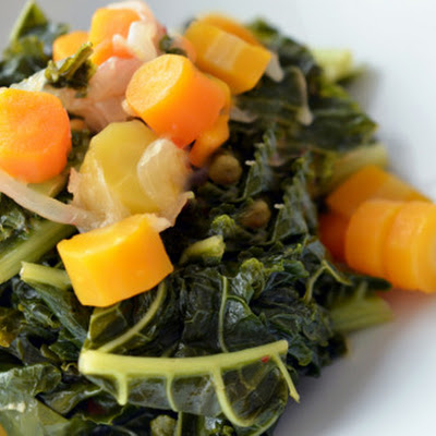 Pressure Cooker Braised Kale and Carrots