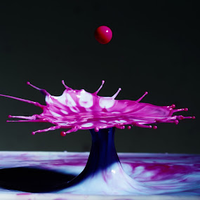 Purple splash by Cédric Guere - Abstract Water Drops & Splashes ( abstract, liquid, milk, colors, art, water drop )