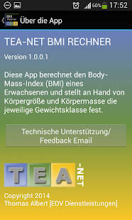 TEA-NET BMI Rechner - screenshot