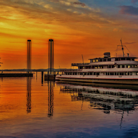 Port Rainbow by Jesus Giraldo - Transportation Boats ( reflection, hdr, sunset, ship, colors, art, harbour, colorfull, boat )