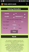 Screenshot of Daily calorie needs (BMR)
