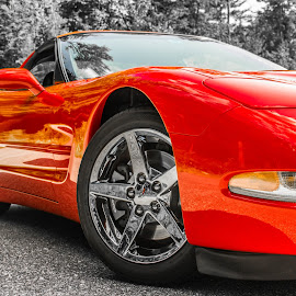 Modern Steel by Cassie Walsh - Transportation Automobiles ( love, car, corvette, red, tires, sports, fast, photography )