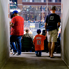Going to the Game by Barbara Brock - News & Events Sports ( orange, major league baseball, baseball, father and son, baseball game, mlb )