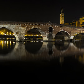 Verona by night by Alessandro Genero - Buildings & Architecture Bridges & Suspended Structures ( #verona #city #water #river #reflections )