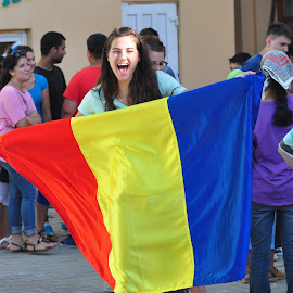 Romania! by Mike DeLong - People Street & Candids ( flag, joy, street, romania, young girl,  )