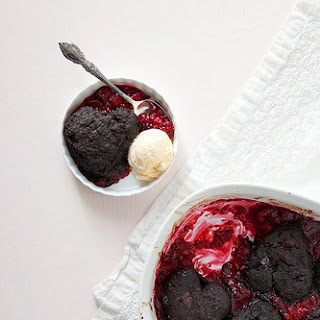 Raspberry Cobbler with Dark Chocolate Biscuits