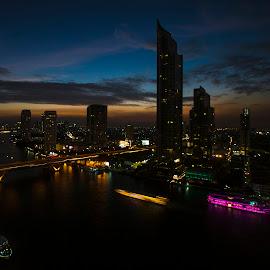 Chao Phya - II by Inayat Shah - City,  Street & Park  Skylines ( bangkok, sunset, bridge, chao phya, river )