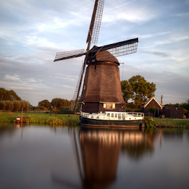 Windmill at the Zaan by Mike Bing - City,  Street & Park  Historic Districts ( zaanstreek, holland, netherlands, windmill, skyscape )