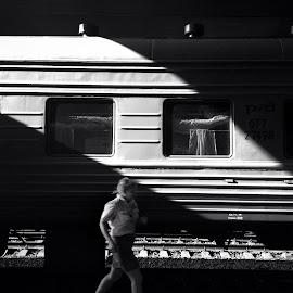 Train conductor by Vlad Sidorak - City,  Street & Park  Street Scenes ( black and white, street, street photography,  )