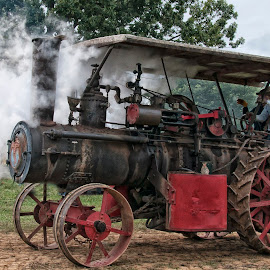 Steam Engine by Jackie Stoner - Transportation Other ( steam engine, red and black, vintage, farm equipment, antique )