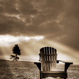 PEI Lawn Chair by Xavier Wiechers - Artistic Objects Furniture ( sepia, tree, god rays, lawn chair, stormy clouds, prince edward islan, ocean, beach )