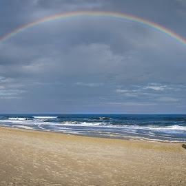 Rain vs Rainbows by Dale Foshe - People Couples ( couple, ocean, beach, rainbow, north carolina, engagement )