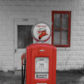Npatp by Jay Anderson - Transportation Other ( gas, old, red, selective color, station, gas pump, abandoned, pwc )