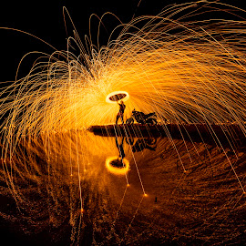 Ghost Rider by Ravikanth Kurma - Abstract Fire & Fireworks ( fz, reflection, steelwool, line, lake, circle, steel, chennai, fire, yamaha, bike, spin, india, sparks, spread, pond, wool, man )