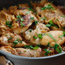Skinless Chicken Thighs with Shallots in Red Wine Vinegar (Poulet Au Vinaigre)