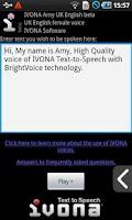 Screenshot of IVONA Amy UK English beta