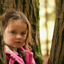 Autumn Sessions by Dominic Lemoine Photography - Babies & Children Child Portraits ( look, girl, trees, woodland, serious, close up, eyes )