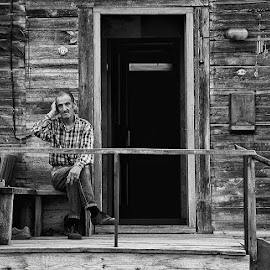 Phone call by Rok Godec - People Portraits of Men ( phone, village, latvia, house, people )