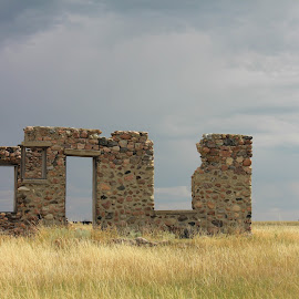 Stone Walls by Shelly Priest - Buildings & Architecture Decaying & Abandoned ( walls, stone, ruins, architecture, prairie, abandoned )