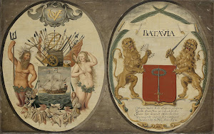 RIJKS: Jeronimus Becx (II): The Arms of the Dutch East India Company and of the Town of Batavia 1651