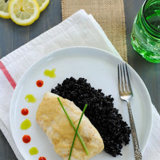 Miso-Glazed Halibut with Chive Oil & Black Rice