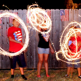 Sparkling Fun by Cookie Sisneros-Brown - Abstract Light Painting ( lights, fun, sparklers )