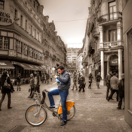 Bruxelles by Nicklas G - City,  Street & Park  Street Scenes ( bike, street, people )