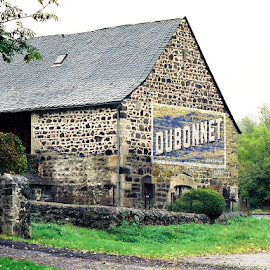 Painted barn advertisement, France by Timothy Carney - Buildings & Architecture Other Exteriors ( painted barn, dubonnet, advertisement, france, stone barn, rural )