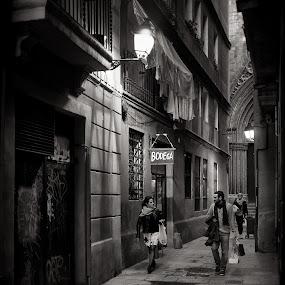 Bodega by Joan Vega - City,  Street & Park  Street Scenes ( b&w, street, candid, night, barcelona )