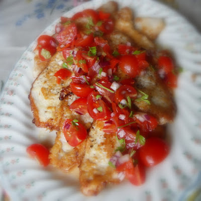 Parmesan Crusted Turkey Steaks with a Tomato and Peppadew Relish