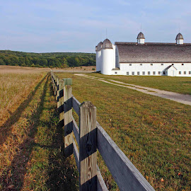 Midwest Living by Michael Laird - Landscapes Prairies, Meadows & Fields ( sleeping bear dunes, fence, barn, landscape )