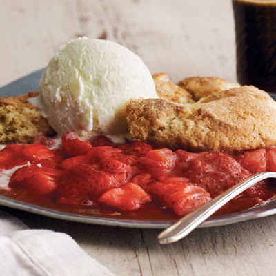 Lemony Strawberry-Rhubarb Cobbler