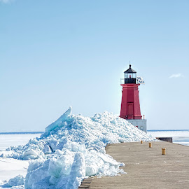 Ice Shoves from Green Bay by John Kehoe - Landscapes Weather ( red, ice, lighthouse, pier, house, light, shoves )