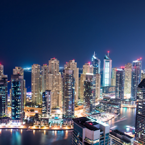 Dubai Marina by Aamir Munir - City,  Street & Park  Night ( night photography, jbr, dubai, buildings, night, dubai marina )