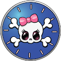 girly de l'horloge de crâne icon
