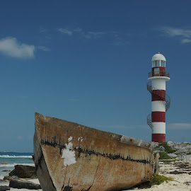 Cancun Lighthouse by Susan Fries - Buildings & Architecture Statues & Monuments ( cancun, sand, lighthouse, seascape, boat,  )