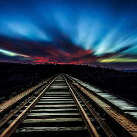 Railroad to hell by Pedro Silva - Transportation Railway Tracks ( #pedro silva images, #portugal, #sky, #canon, #covilhã, #sunrise )