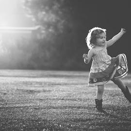 Dancing  by Stephanie Stafford - Babies & Children Children Candids ( sunlight, dance, black&white )