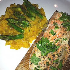 Cedar Plank Wrapped Salmon With Spicy Saffron Kedgeree