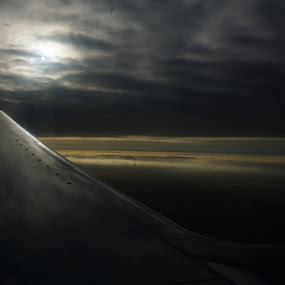 Early Morning Flight by VAM Photography - Transportation Airplanes ( clouds, airplane, travel, sky sunrise,  )