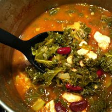 Turkey Garbanzo Bean and Kale Soup with Pasta