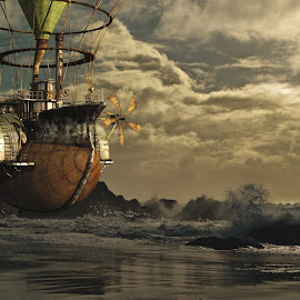 Floating by Helmut Schillinger - Illustration Sci Fi & Fantasy ( fantasy, ship, floating, beach, steampunk )