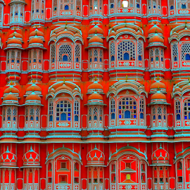by PINAKI MITRA - Buildings & Architecture Architectural Detail ( jharokha, hawa mahal, wind palace, jaipur, rajasthan, stone, windows, architecture, rajput, red, india, palace, medieval )