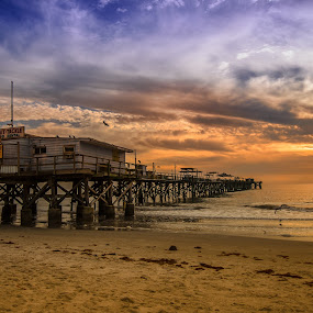 The Long Pier by Jeremy Jordan - Buildings & Architecture Bridges & Suspended Structures ( water, clouds, beautiful, ocean, beach, sun, gulf coast, florida, sunset, pier, suset, fishing, gulf of mexico, nikon )