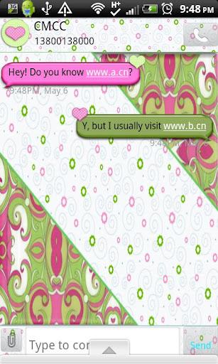 GO SMS THEME PinkGrnSwirls