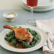 Pinot-Braised Duck with Spicy Greens