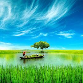 Ben ganti suasana... Lek Surti agi golek enceng gondok nang danau buatan... by Arie Dexz - Digital Art Places