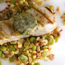 Halibut with Orange-Parsley Butter and Succotash Recipe