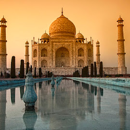 Twilight by Debashis Kumar - Buildings & Architecture Public & Historical ( water, orange, red, twilight photography, taj mahal, agra, india, monument, public place, yellow, historical, golden hour )
