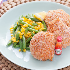 Oven-Fried Chicken with Sautéed Green Beans & Corn